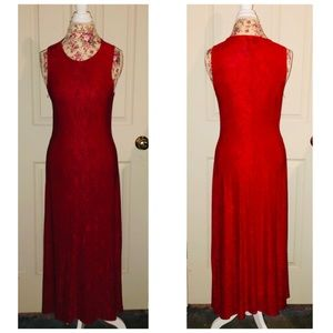 Vintage Marian & Marian Bodycon Long Red Dress M